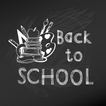 Back to School Chalkboard Illustration - hand-drawn vector  Vector