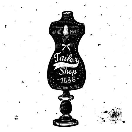 Vintage Sewing Kit Label Design Vector