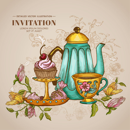 Vintage Menu or Invitation Card - with Teapot and Desserts Vector