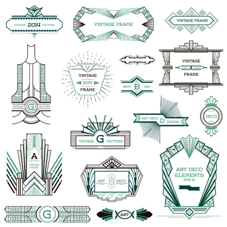 Art Deco Vintage Frames e elementos de design Ilustração
