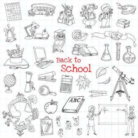 hand pen: Back to School Doodles - Hand-Drawn Vector Illustration Design Elements