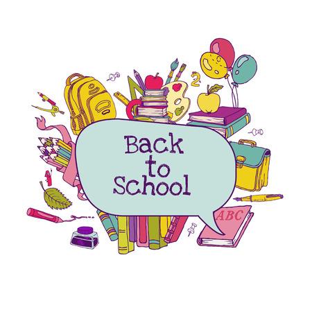 Back to School Set - school supplies, hand-drawn doodles Vector