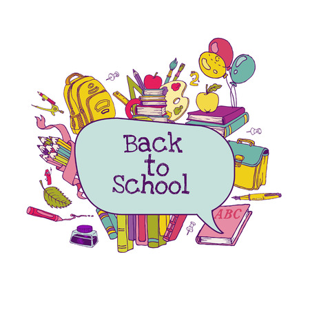 sketchy illustration: Back to School Set - school supplies, hand-drawn doodles