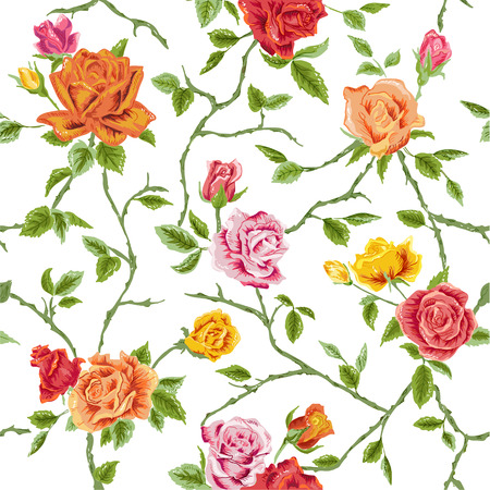 rose bud: Seamless Floral Roses Background