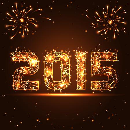 Happy New Year - 2015 - golden fireworks numbers - in vector Vector