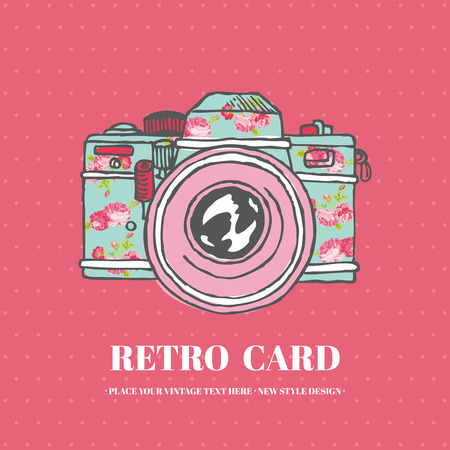 Vintage Photo Camera with Flowers - hand-drawn in vector Illustration