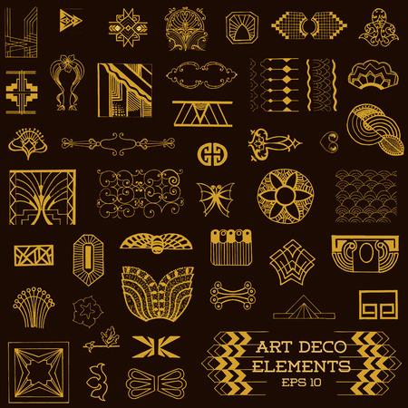 art deco: Art Deco Vintage Frames and Design Elements - hand drawn in vector Illustration