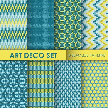 art deco background: Vintage Art Deco Background Set - 8 seamless patterns for design and scrapbook - in vector