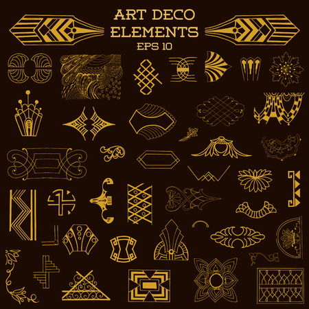 Art Deco Vintage Frames and Design Elements - hand drawn in vector Vector