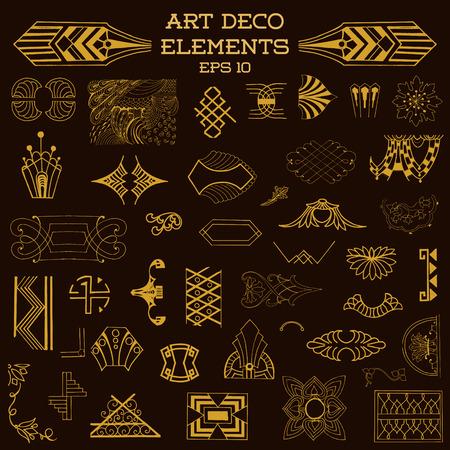 art deco frame: Art Deco Vintage Frames and Design Elements - hand drawn in vector Illustration