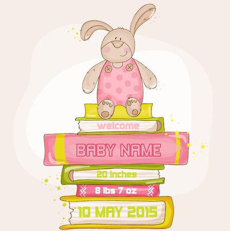 beauty girls: Baby Bunny Shower or Arrival Card - with place for your text - in vector