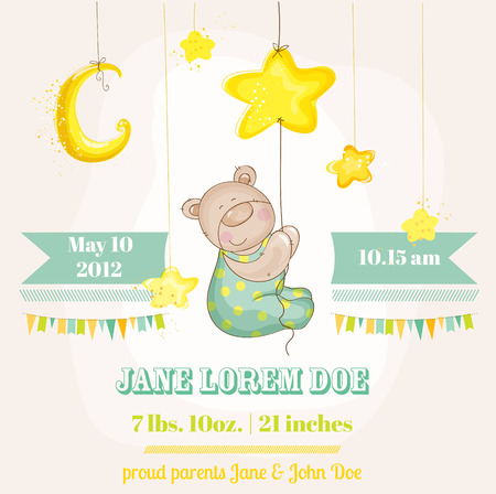 Baby Boy Arrival Card - Baby Bear with Moon and Stars - in vector Vector