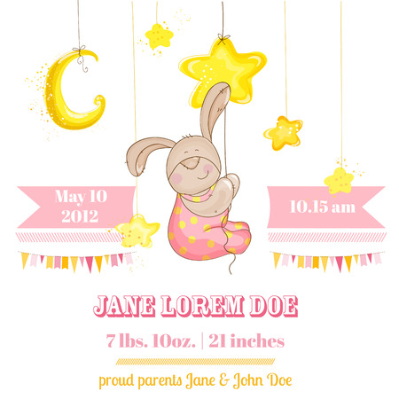 Baby Girl Arrival Card - with Baby Bunny and Stars - in vector Vector