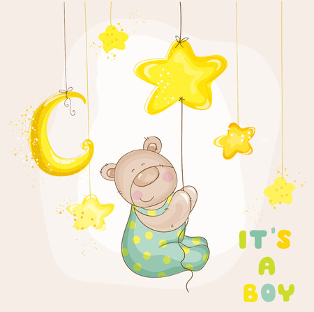 Baby Bear with Moon and Stars - Baby Shower or Arrival Card - in vector Vector