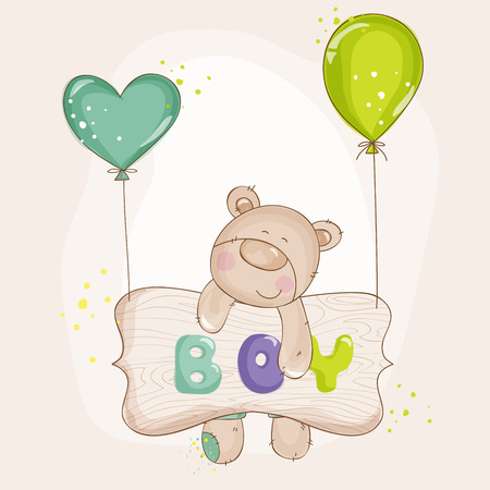Baby Bear with Balloons - Baby Shower or Baby Arrival Cards - in vector Vector
