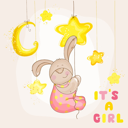baby arrival: Baby Bunny with Stars and Moon - Baby Shower or Arrival Card - in vector