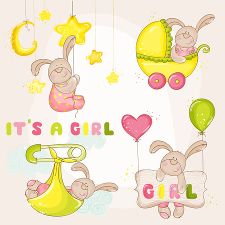 welcome party: Baby Bunny Set - for Baby Shower or Arrival Card - in vector Illustration