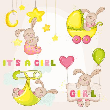 Conejito del bebé fijado - para la ducha de bebé o tarjeta de llegada - en vector