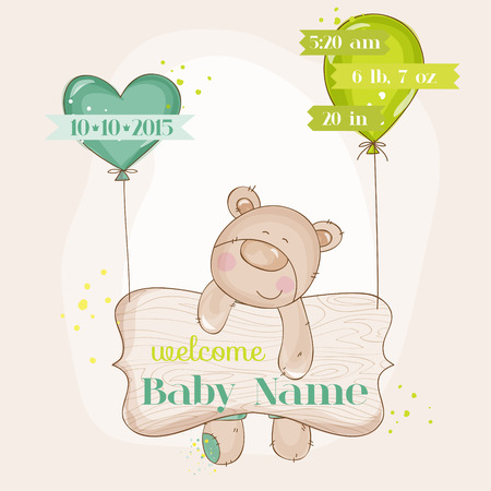 Baby Bear with Balloons - Baby Shower or Baby Arrival Cards  Vector