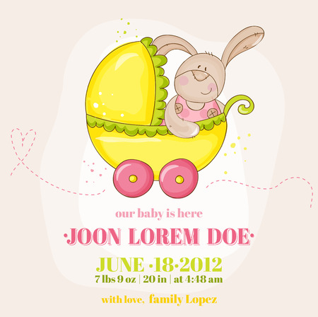 Baby Girl Arrival Card - with Baby Bunny in Carriage  Vector