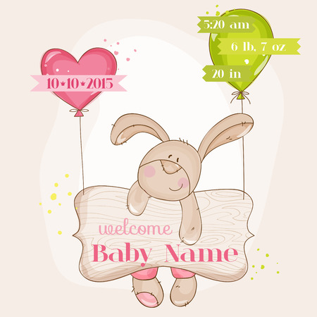 Baby Girl Arrival Card - with Cute Baby Bunny  Vector