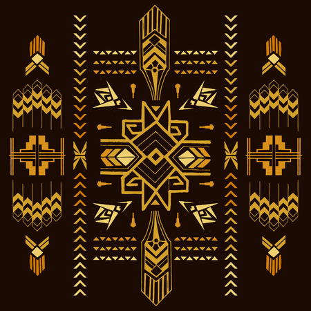 aztec: Tribal Vintage Aztec Background - hand drawn in vector
