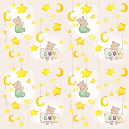 Baby Bear Seamless Pattern - for background, design, card, wallpaper, prints  Vector