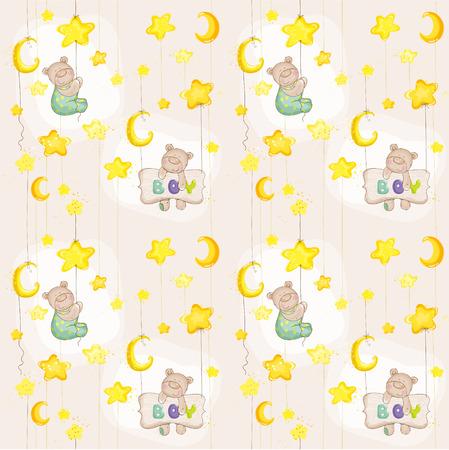 baby bear: Baby Bear Seamless Pattern - for background, design, card, wallpaper, prints  Illustration
