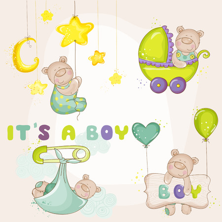 baby bear: Baby BearSet - for Baby Shower or Baby Arrival Cards  Illustration