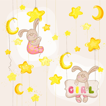 Baby Bunny Seamless Pattern - for background, design, card, wallpaper, prints  Vector