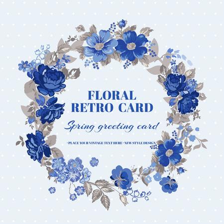 Floral Shabby Chic Card - vintage design - in vector Illustration