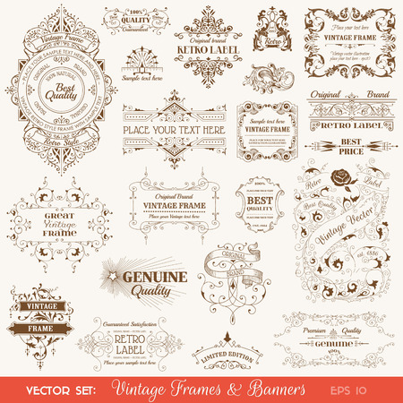 Vector Set: Vintage Frames and Banners, Calligraphic Design Elements and Page Decorations Illustration
