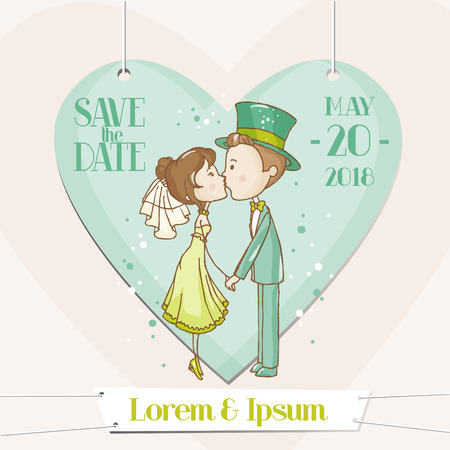 Bride and Groom - Save the Date Wedding Card - in vector Vector