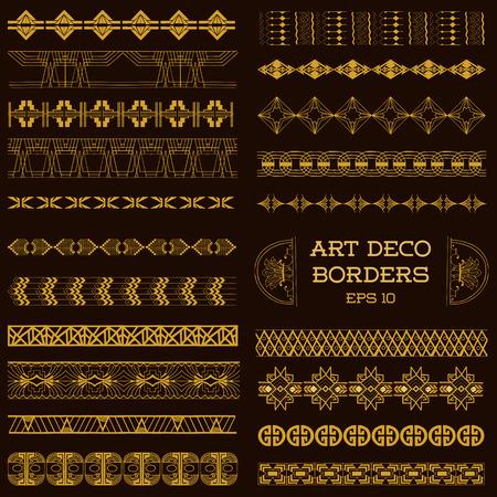 Art Deco Fronteras del vintage y elementos de diseño - dibujado a mano en el vector Vectores