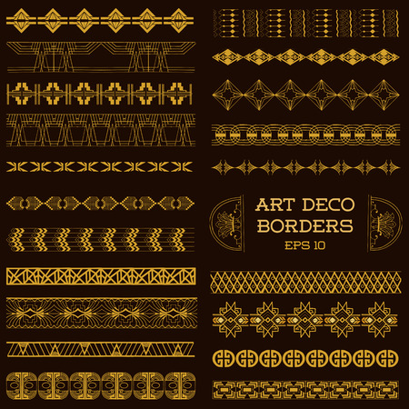 art deco background: Art Deco Vintage Borders and Design Elements - hand drawn in vector