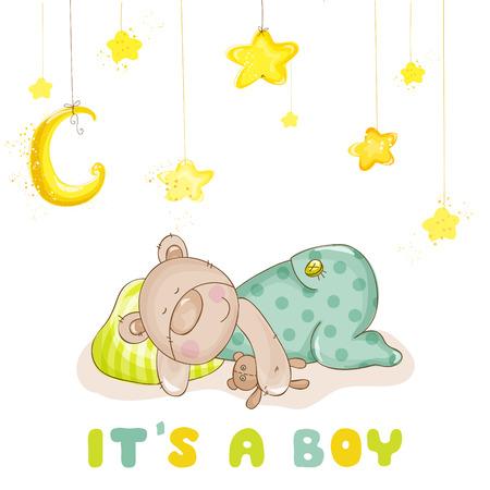 Baby-Dusche oder Baby-Ankunft-Karten - Schlafende Baby-Bär und Sterne- in vector