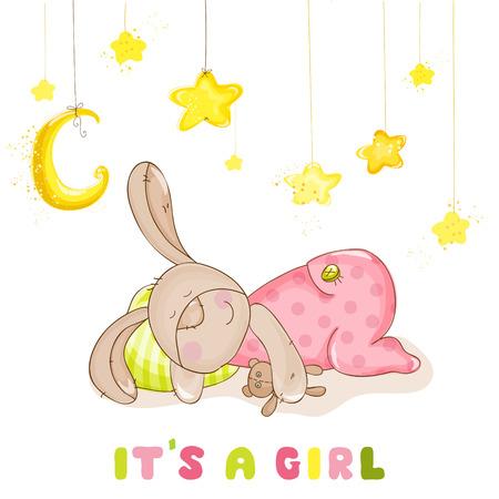 Baby Shower lub Baby przybycia karty - Spanie dziecka Bunny i gwiaz- dami w wektorze