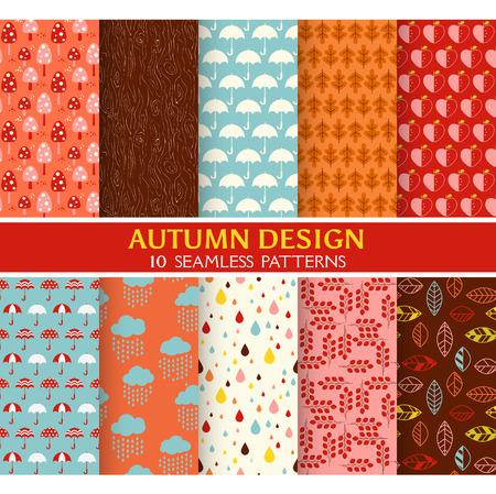 scrapbook cover: 10 Seamless Patterns - Autumn Set - Texture for wallpaper, background, texture, scrapbook - in vector Illustration