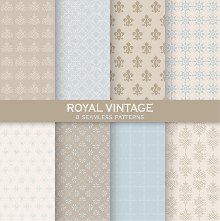 vintage wallpaper: 8 Seamless Patterns - Royal Vintage Set - Texture for wallpaper, background, texture, scrapbook - in vector