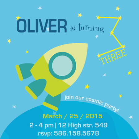 Birthday Invitation Card - Space and Rocket Theme - with place for your text - in vector Vector