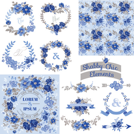 scrapbook cover: Vintage Floral Set - Frames, Ribbons, Backgrounds - for design and scrapbook - in vector