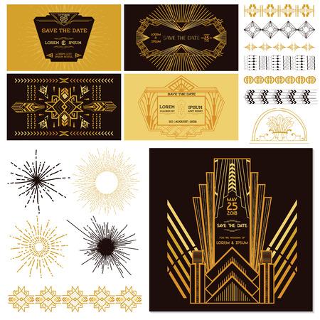 retro art: ART DECO OR GATSBY Party Set - voor bruiloft, feest decoratie, Scrapbooking - in vector