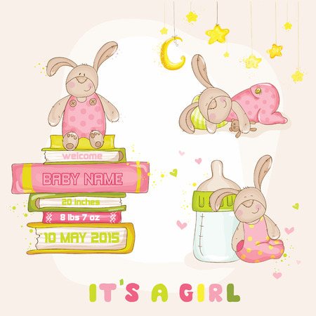 baby boy announcement: Baby Bunny Set - for Baby Shower or Arrival Card - in vector Illustration