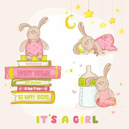 Baby Bunny Set - voor Baby Shower of Arrival Card - in vector