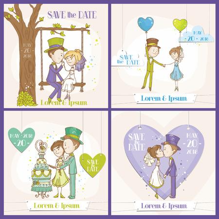 Speichern Sie die Datums-Hochzeits-Karte Set - Braut und Bräutigam Paar - in Vektor- Standard-Bild - 31896873