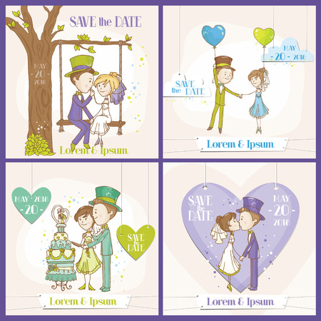 Save the Date Wedding Card Set - Bride and Groom Couple - in vector Illustration