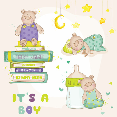 announcements: Baby Bear Set - for Baby Shower or Baby Arrival Cards
