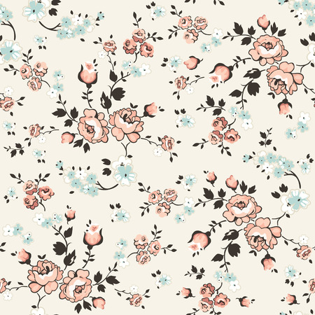 Vintage Floral Background - seamless pattern