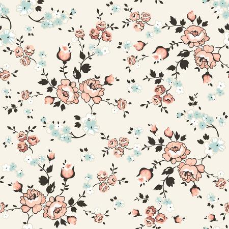 Weinlese mit Blumen Hintergrund - nahtlose Muster