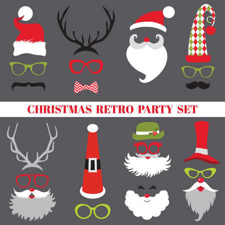 wear mask: Christmas Retro Party set - Glasses, hats, lips, mustaches, masks Illustration